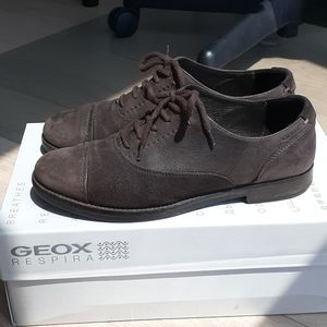 Geox Leather Suede Brown Oxfords Promethea 37/6.5